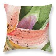 Watercolor Tiger Lily Dance Of Petals Close Up  Throw Pillow