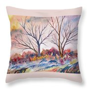 Watercolor - Trees And Woodland Meadow Throw Pillow
