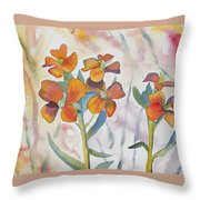Watercolor - Wallflower Wildflowers Throw Pillow