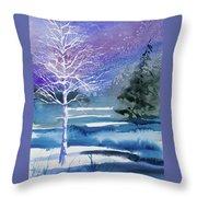 Watercolor - Winter Aspen Throw Pillow