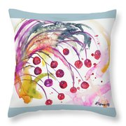 Watercolor - Winter Berry Abstract Throw Pillow