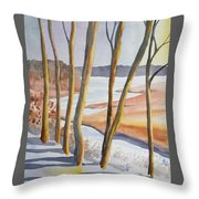 Watercolor - Winter Sunrise Throw Pillow