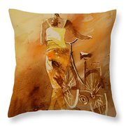 Watercolor With My Bike Throw Pillow by Pol Ledent