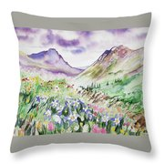 Watercolor - Yankee Boy Basin Landscape Throw Pillow