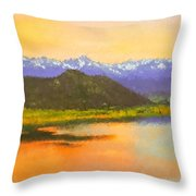 Watercolored Sunset Throw Pillow