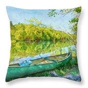 Watercolors At The Lake Throw Pillow