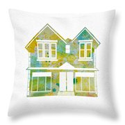 Watercolour House Throw Pillow