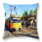 Watercolour Painting Of A Tram In Germany Throw Pillow