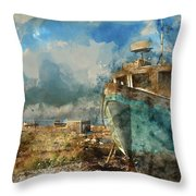 Watercolour Painting Of Abandoned Fishing Boat On Beach Landscap Throw Pillow