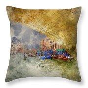 Watercolour Painting Of Low View Through Rialto Bridge Along Gra Throw Pillow