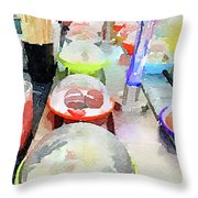 Watercolour Painting Of Sushi Dishes On The Belt Throw Pillow