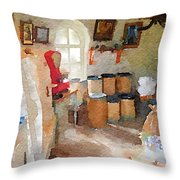 Watercolour Painting Of The Inside Of A Windmill Throw Pillow