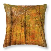 Watercolour Painting Of Vibrant Autumn Fall Forest Landscape Ima Throw Pillow