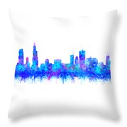 Watercolour Splashes And Dripping Effect Chicago Skyline Throw Pillow
