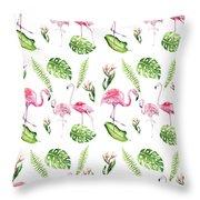 Watercolour Tropical Beauty Flamingo Family Throw Pillow