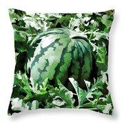 Waterelons In A Vegetable Garden Throw Pillow