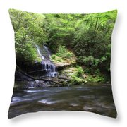 Waterfall And Mountain Creek Throw Pillow