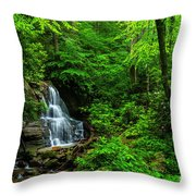 Waterfall And Rhododendron In Bloom Throw Pillow