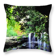 Waterfall And Rhododendron Throw Pillow