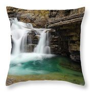 Waterfall At Johnston Canyon Throw Pillow