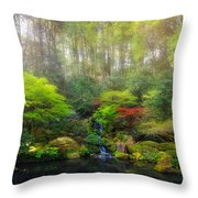Waterfall At Lower Pond In Japanese Garden Throw Pillow