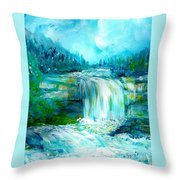 Waterfall At Pont Espagna Throw Pillow