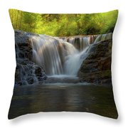 Waterfall At Sweet Creek Hiking Trail Complex Throw Pillow