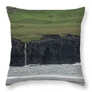 Waterfall At The Cliffs Of Moher Throw Pillow