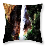 Waterfall At Yosemite Throw Pillow