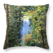 Waterfall Beyond The Trees Throw Pillow