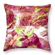 Waterfall Garden Pink Falls Throw Pillow