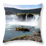 Waterfall - Godafoss Throw Pillow