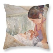Waterfall In Her Lap Throw Pillow