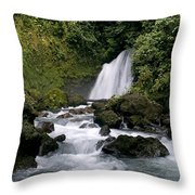 Waterfall In La Fortuna Throw Pillow