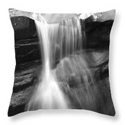 Waterfall In Nh Black And White Throw Pillow