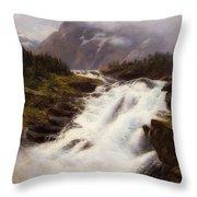Waterfall In Norweigian Mountain Landscape Throw Pillow