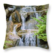 Waterfall In The Vandusen Botanical Garden 1 Throw Pillow