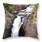 Waterfall In Yellowstone Throw Pillow