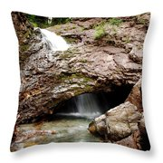 Waterfall Into A Cave Throw Pillow
