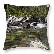 Waterfall Mcdonald Creek Throw Pillow