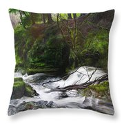 Waterfall Near Tallybont-on-usk Wales Throw Pillow