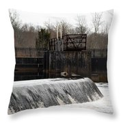Waterfall Near The Railway Throw Pillow