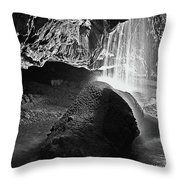 Waterfall Of The Caverns Black And White Throw Pillow