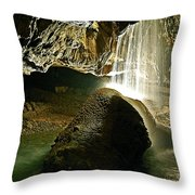 Waterfall Of The Caverns Throw Pillow
