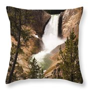 Waterfall Of Yellowstone Throw Pillow