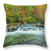 Waterfall On Little Pigeon River Smoky Mountains Throw Pillow