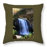 Waterfall On The Cliff Edge Throw Pillow