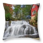 Waterfall Painting Throw Pillow