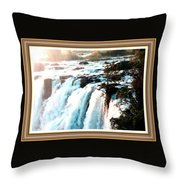 Waterfall Scene For Mia Parker - Sutcliffe L A S With Decorative Ornate Printed Frame.  Throw Pillow