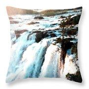 Waterfall Scene For Mia Parker - Sutcliffe L B Throw Pillow